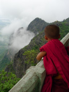 Young Monk in Myanmar Mountains