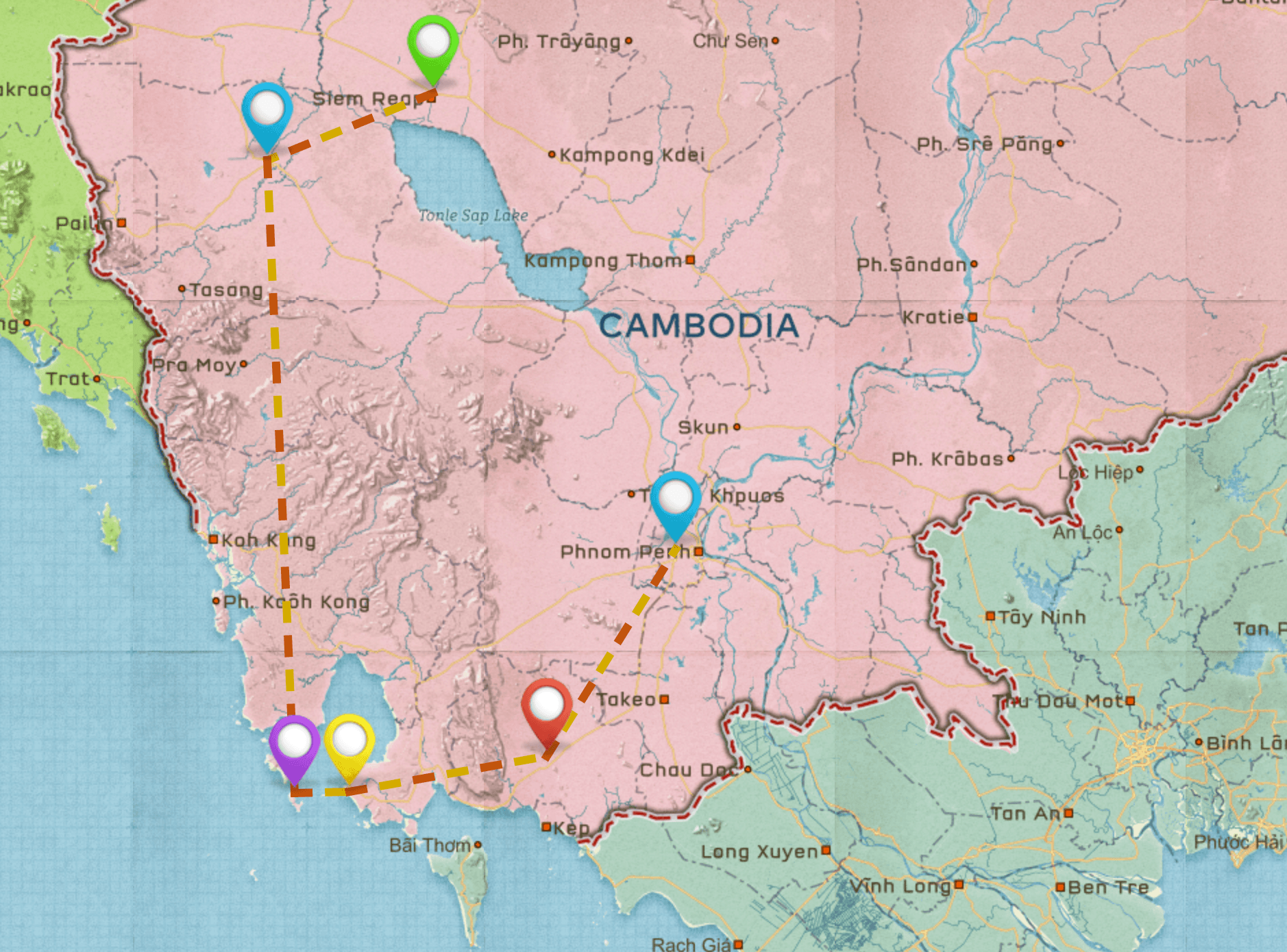 Map of Cambodia Travel Itinerary