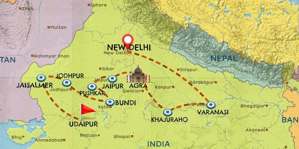 Map of India travel itinerary #1