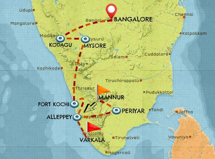 Map of India travel itinerary #4