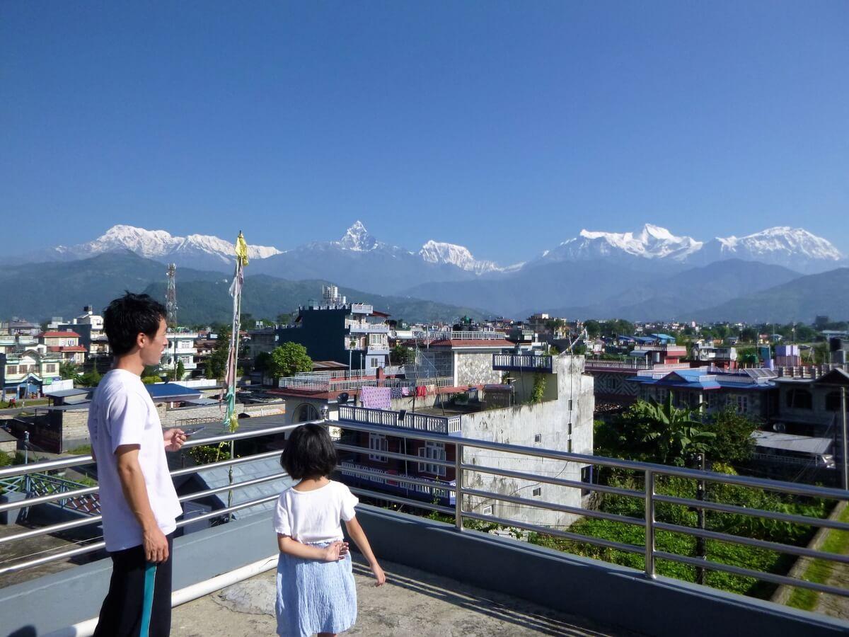 A panorama of the Annapurna Range from Pokhara