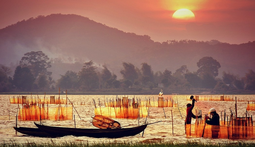 Sunset over Lak Lake - beautiful place to visit in Vietnam