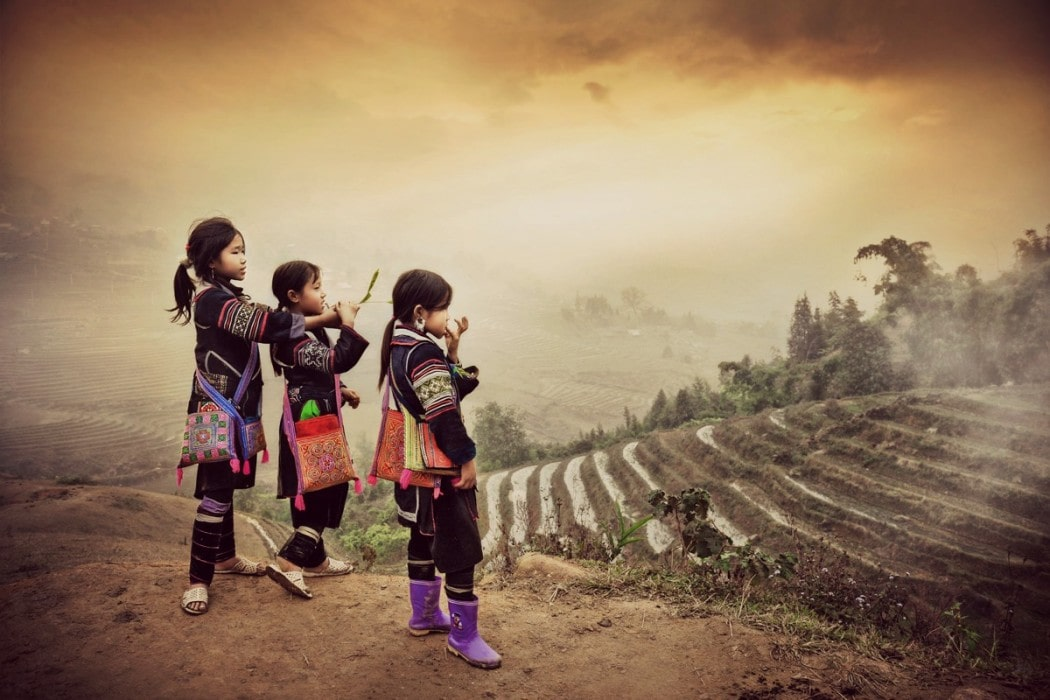 Local Vietnamese girls in the hills of Ban Pho Village, Sapa