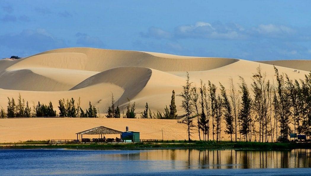 Sand dunes at a beautiful beach in Vietnam at Mui Ne