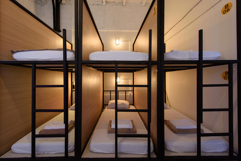 A cheap hostel with cramped sleeping quarters