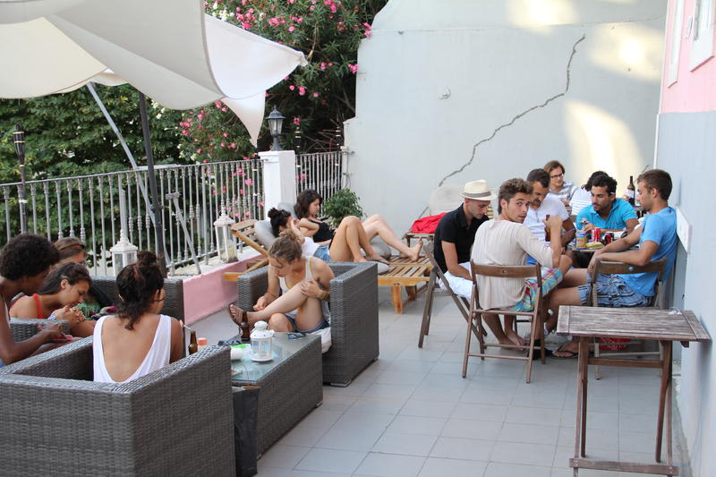 A group of young people staying in a hostel