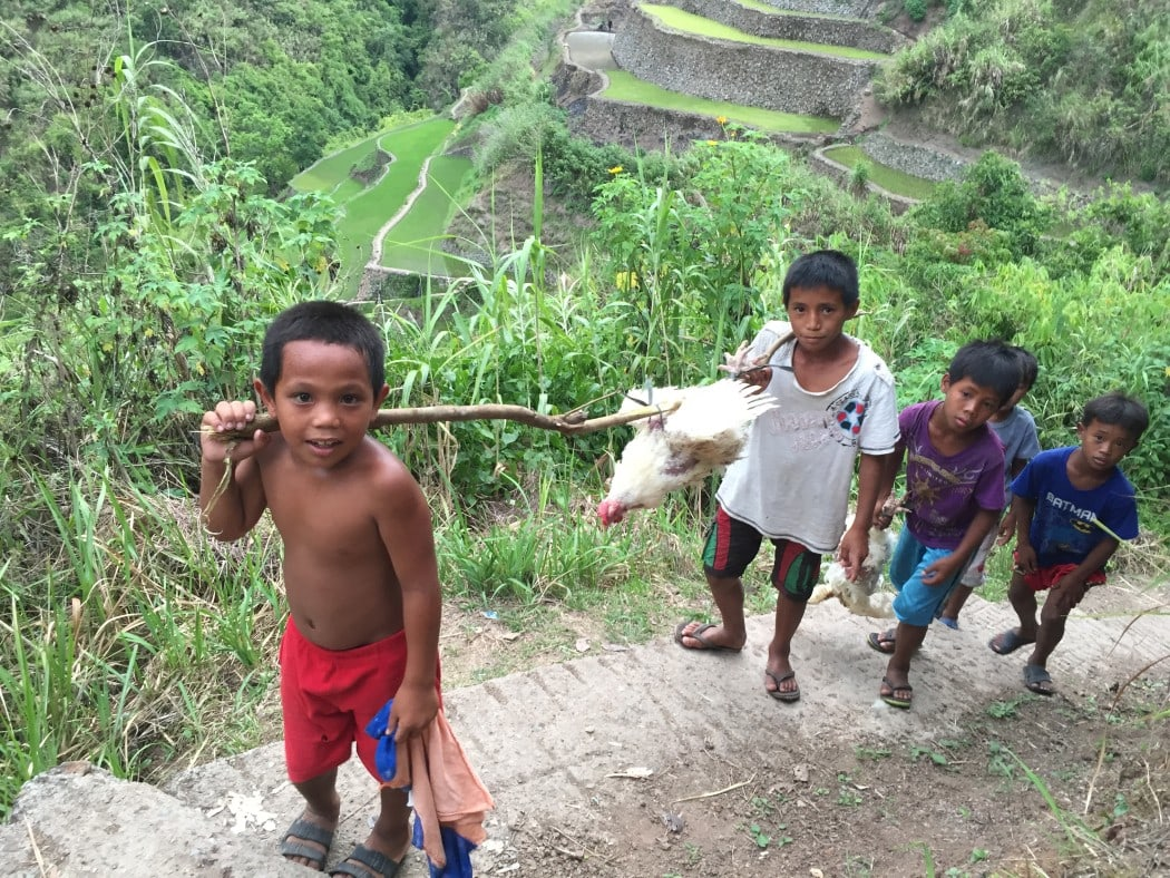 Local kids on the trail to Whang Od