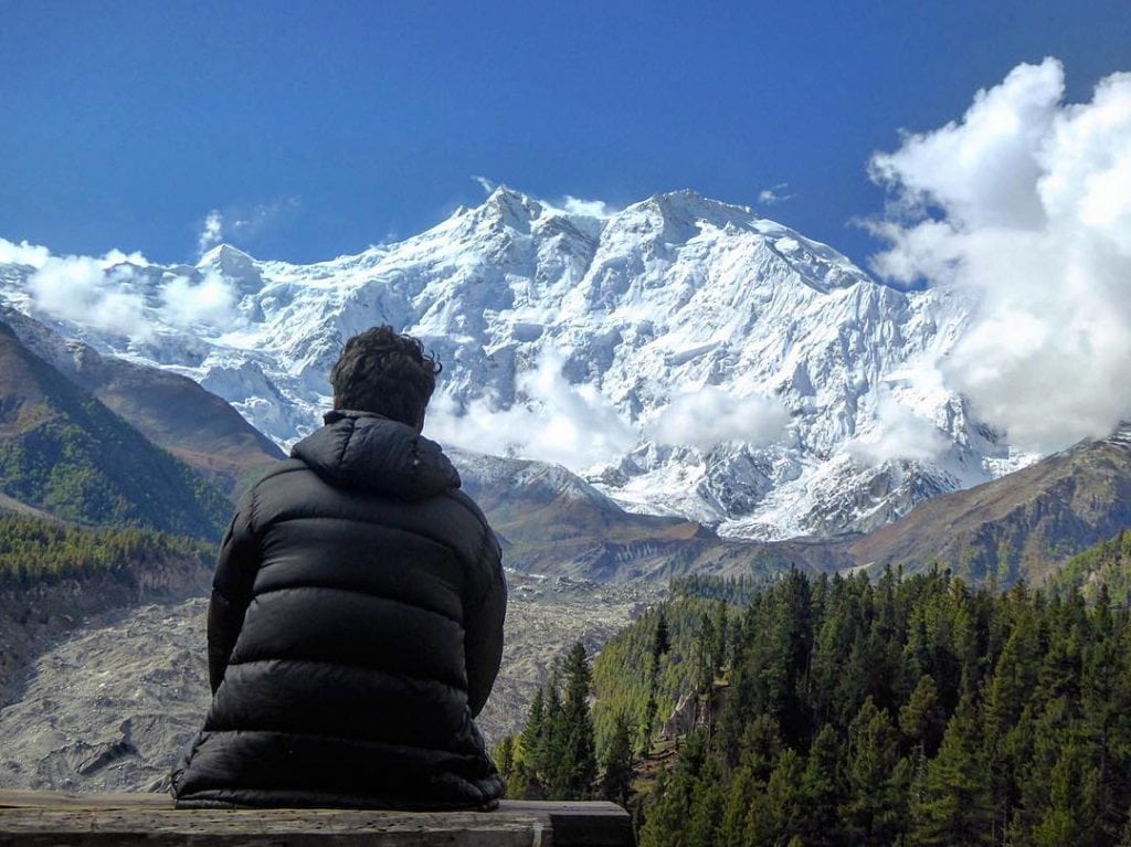 The view from Greenland Hotel over Nanga Parbat at The Fairy Meadows