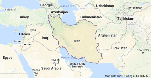 Map of Iran and bordering countries