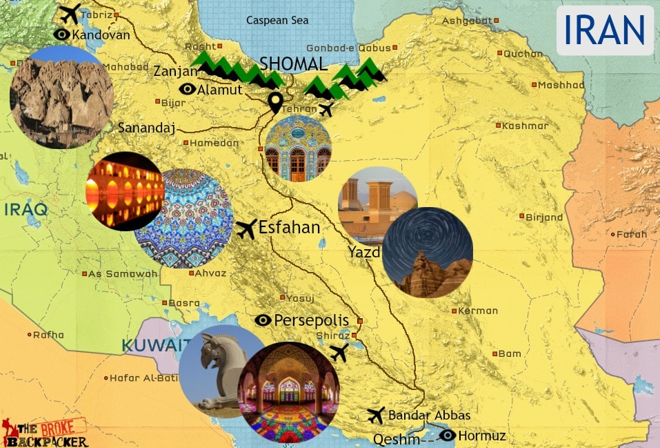 Iran itinerary map