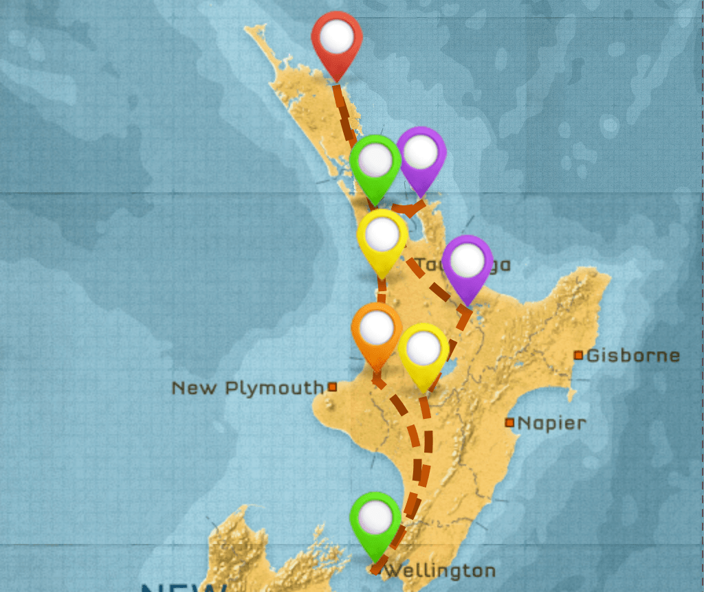 Map of New Zealand Itinerary #1
