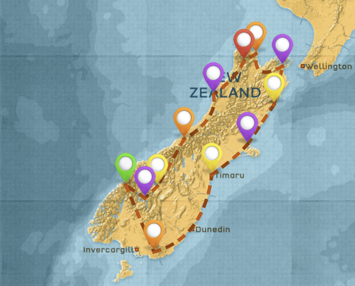 Map of New Zealand Itinerary #2