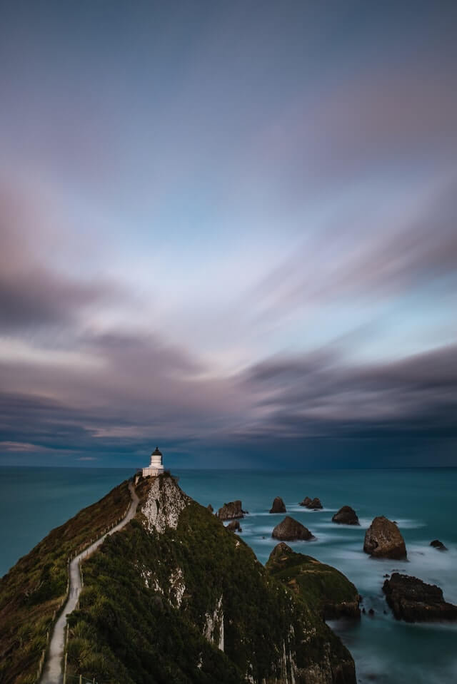 Nugget Point Lighthouse - point of interest on the southern coast of New Zealand