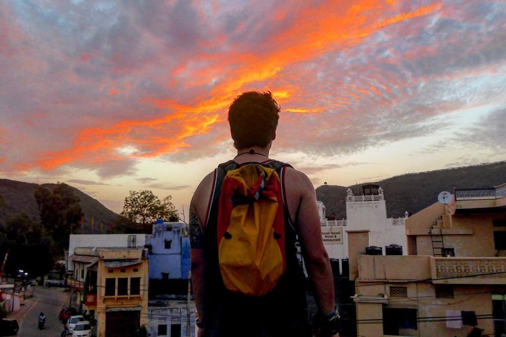A young Will with a beautiful sunset in Bundi, India