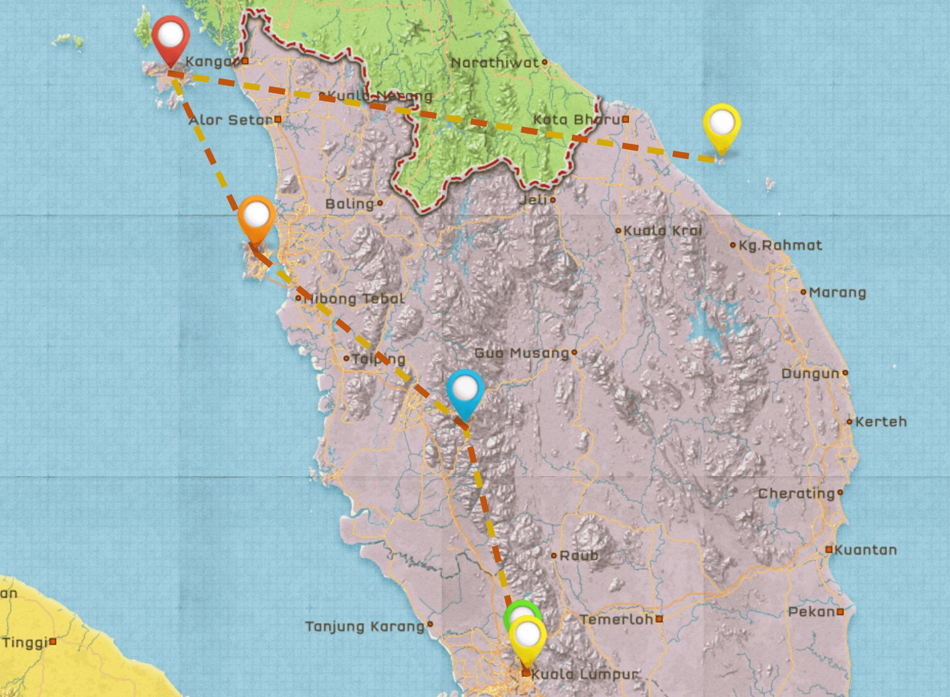 Malaysia Travel Itinerary Map #1