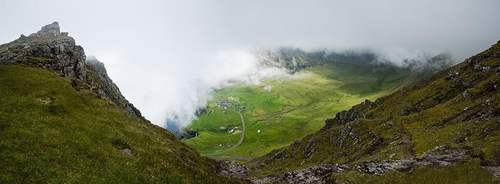 Faroe Islands clouds over hills- Above Gasadalur - hike
