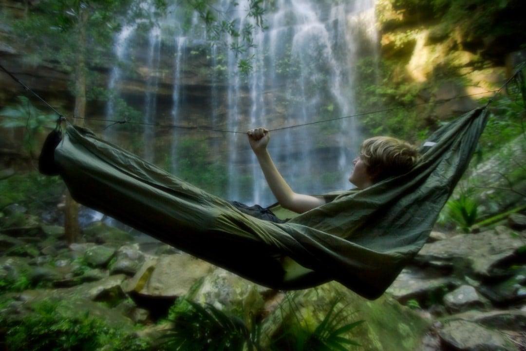 Camping in Meemure in a hammock