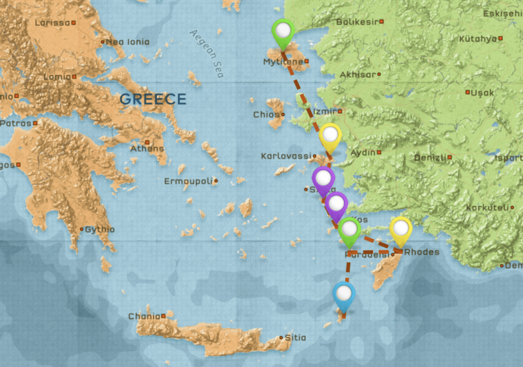 Map of Travel Itinerary for Greece #6