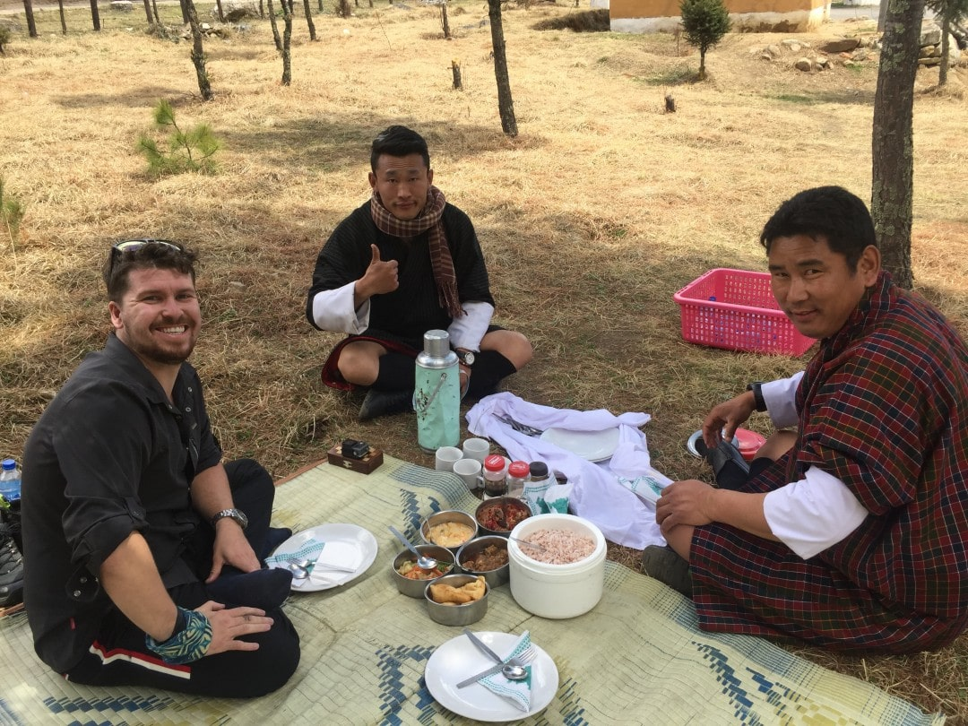 lunch in Mountains of Bhutan