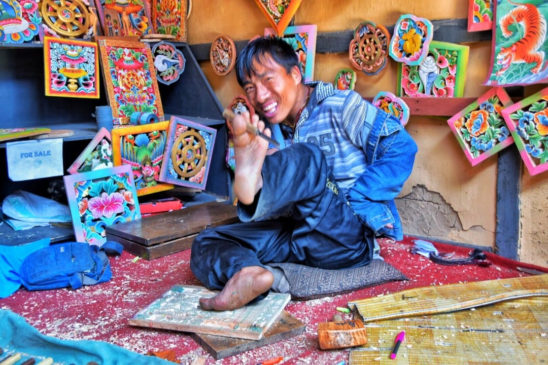 a skilled and friendly artisan in Bhutan