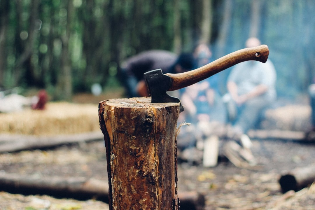 A axe is good for chopping wood for a campfire meal