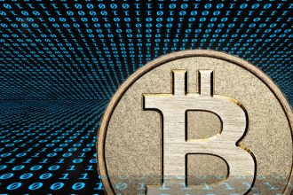 Bitcoin, a type of cryptocurrency, logo