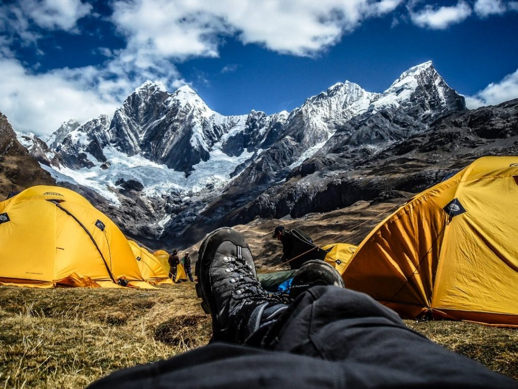 tents in the mountains