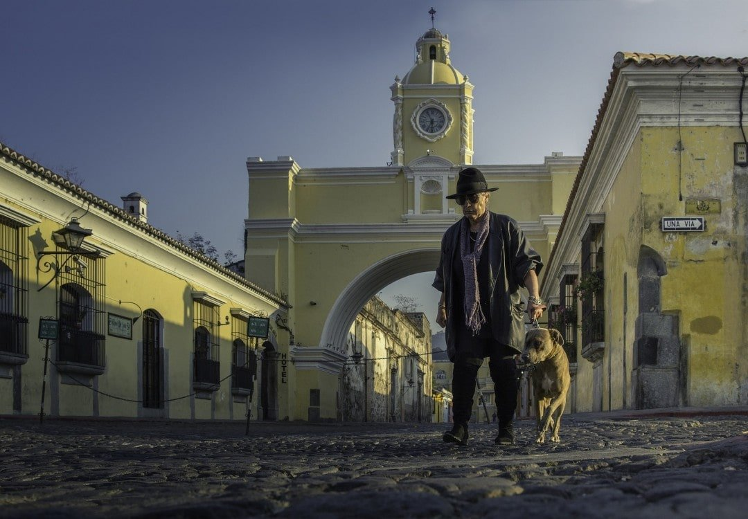 Man with a dog on a Guatemalan street
