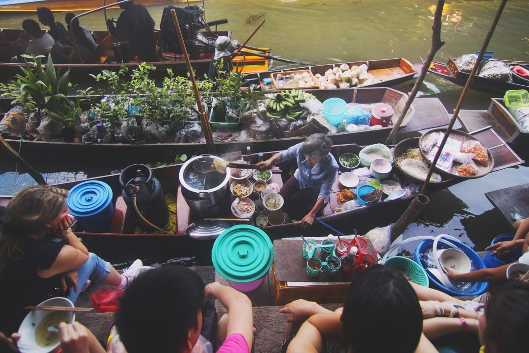 Floating markets are one of the top tourist attractions in Thailand