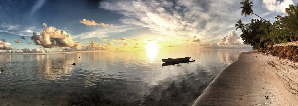Tahiti Country in the pacific islands during sunset