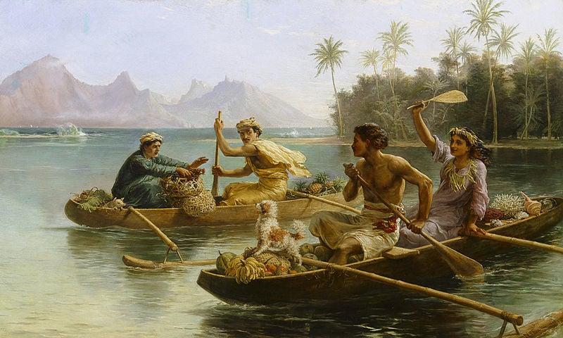 Tahiti outrigger canoe racing