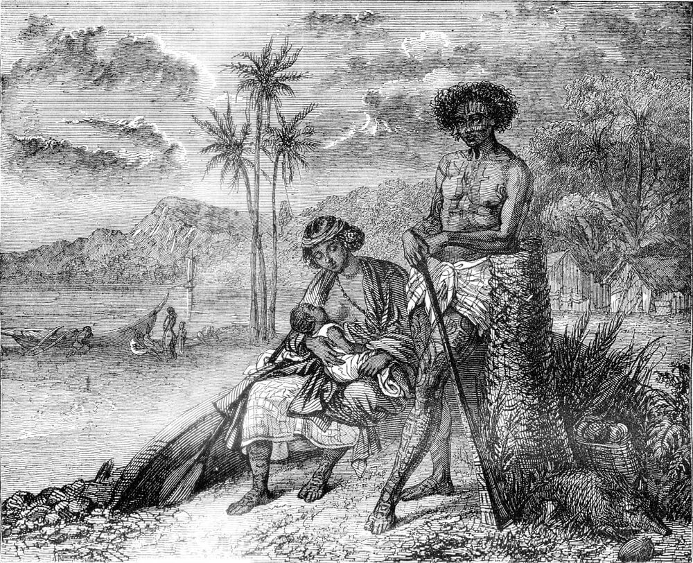 Old painting of the history of Tahiti
