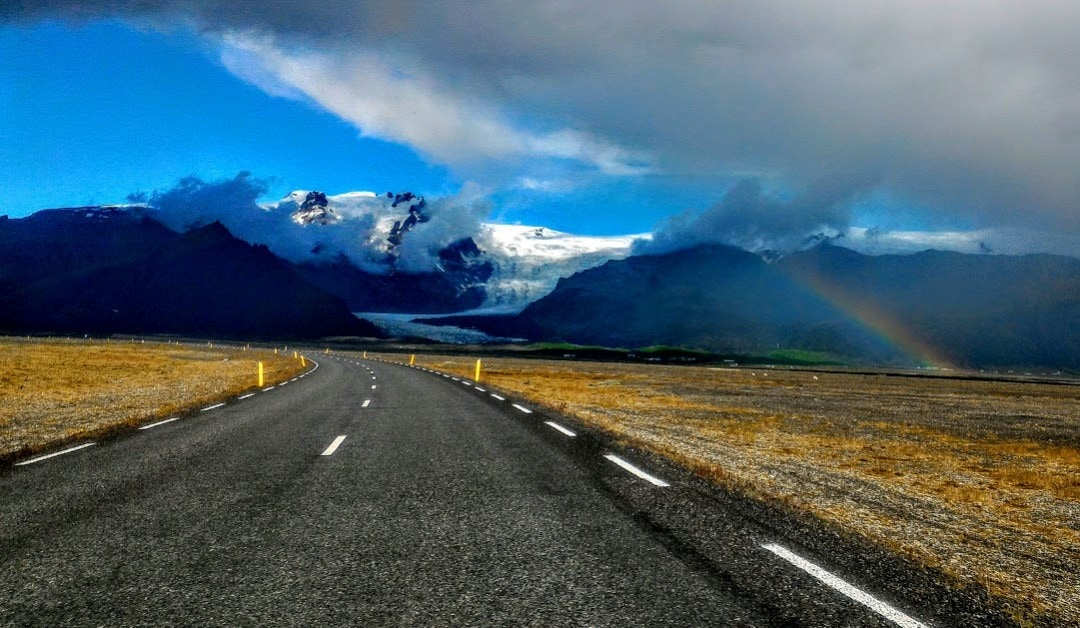 Iceland Ring Road with rainbow