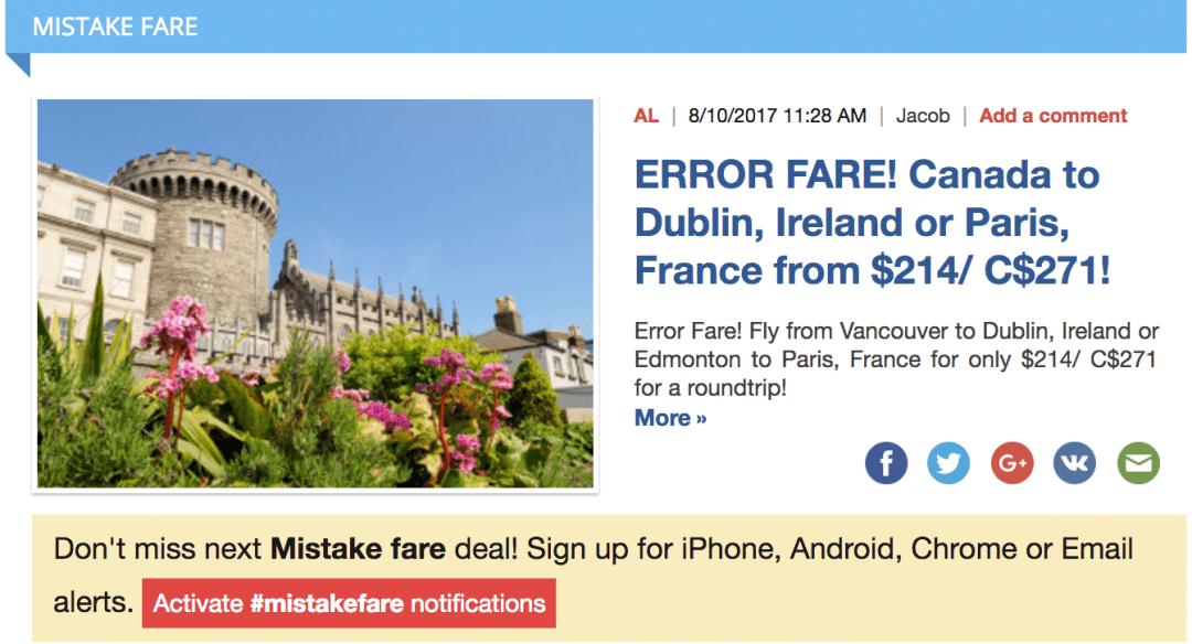 Error Fare Flight from Fly4free