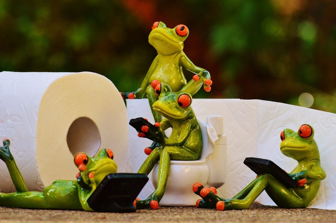 Happy Frogs packing toilet paper with their toiletries list