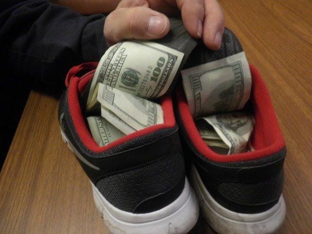 money hidden in shoe