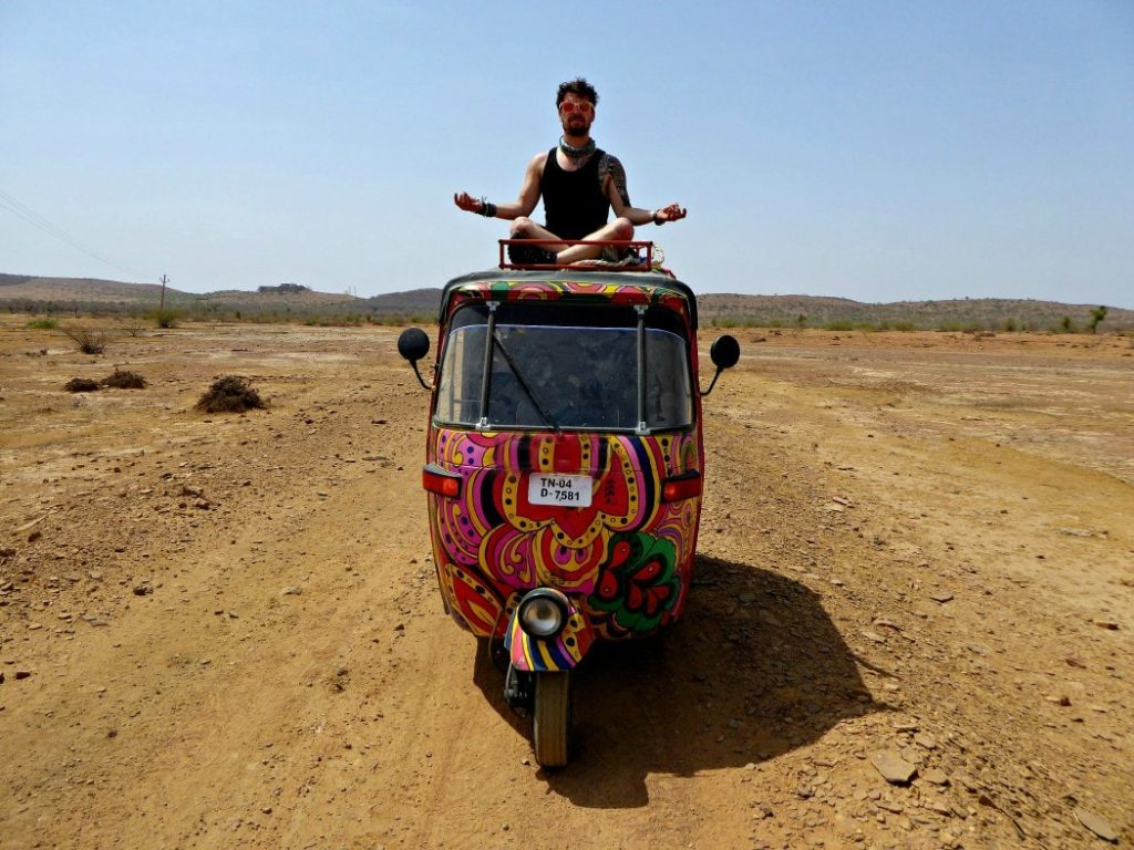 Living the budget travelling life driving a tuk-tuk in India