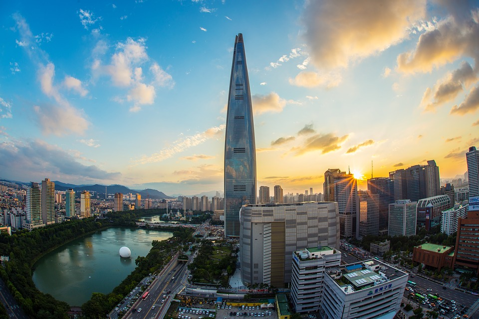 The Lotte World tower with a sunrise
