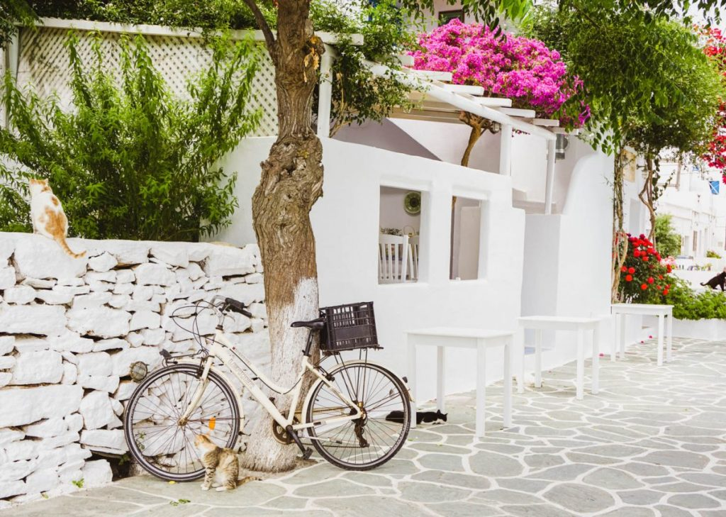 A parked bicycle in a village street on the Greek islands