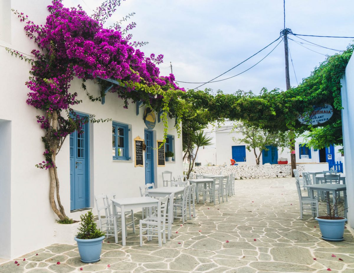 Quiet street in Folegandros - island-hopping in Greece on a budget