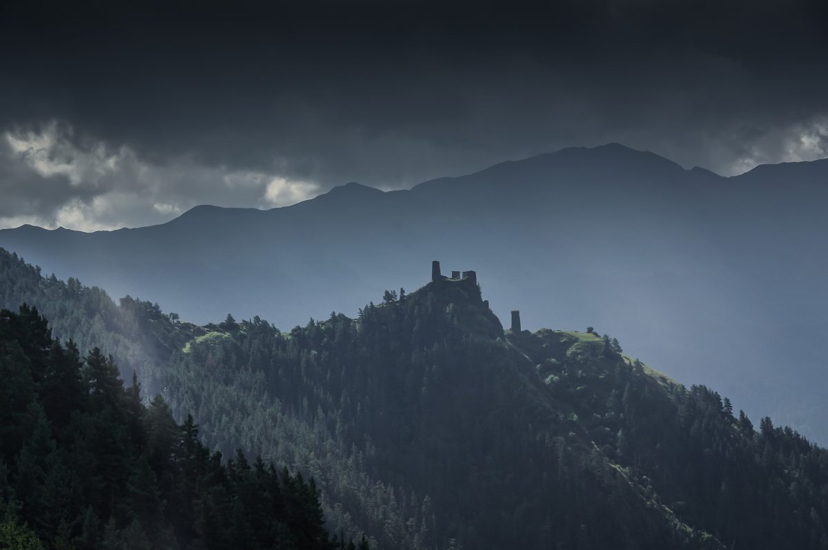 Ominous Castle in Tusheti National Park Georgia