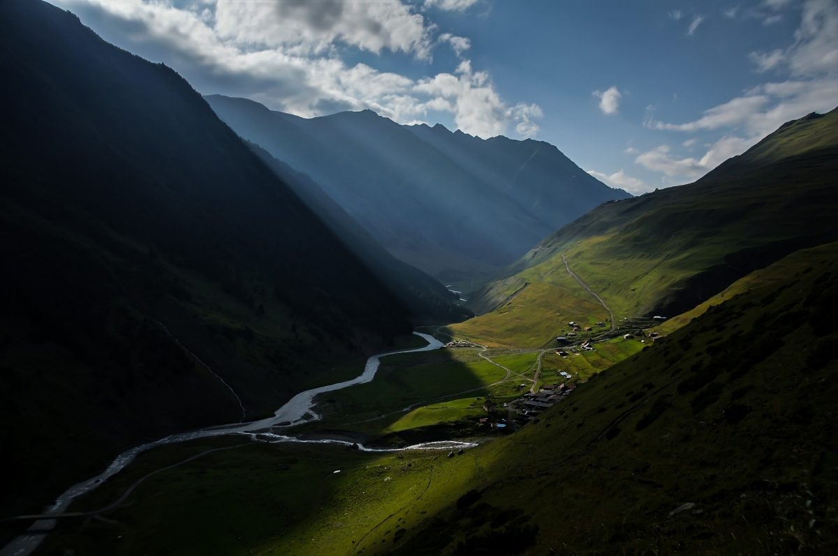 Light Beams in Valley of Tusheti National Park Backpacking Georgia