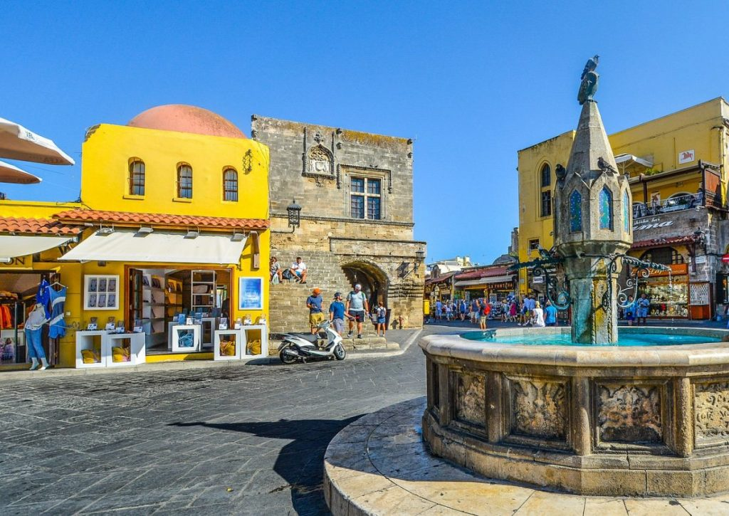 Colourful town in Rhodes, Greece