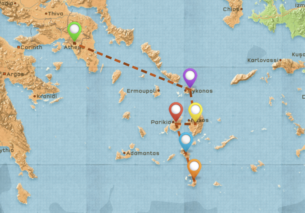 Map of Travel Itinerary for Greece #1