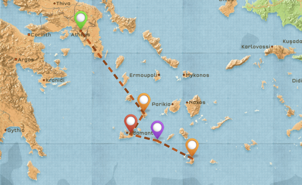 Map of Travel Itinerary for Greece #2