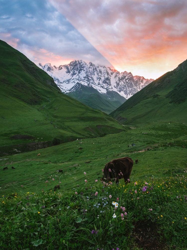 Amazing Sunrise Over Shkhara Ushguli Backpacking Georgia