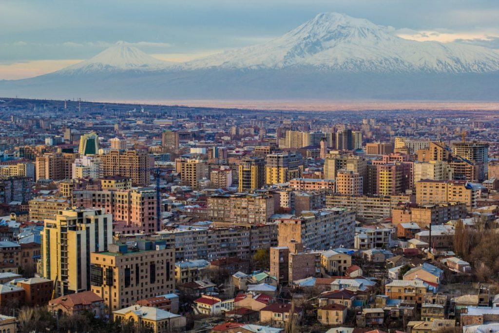 Yerevan Cityscape with Moutains Armenia