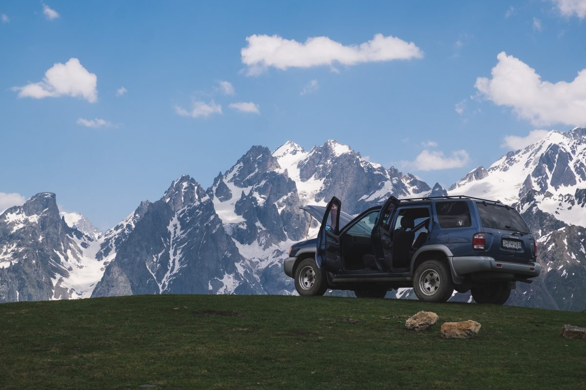 SUV at Koruldi Lakes Svaneti Georgia