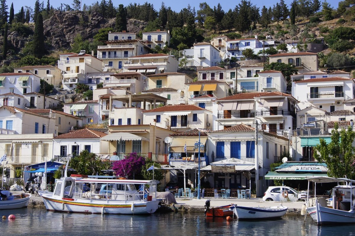 Hill of houses on the waterfront in a town on Paros, Greek Islands