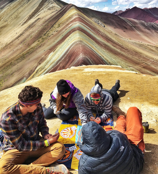 Card game while camping in Peru
